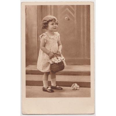 Czechoslovakia - postcard Girl with flowers