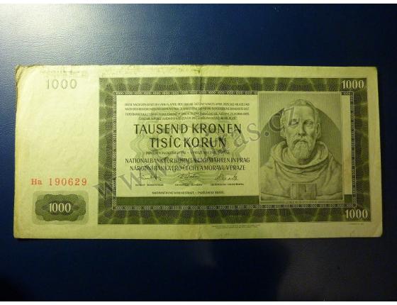 1000 korun 1942, II. vydání, série Ha