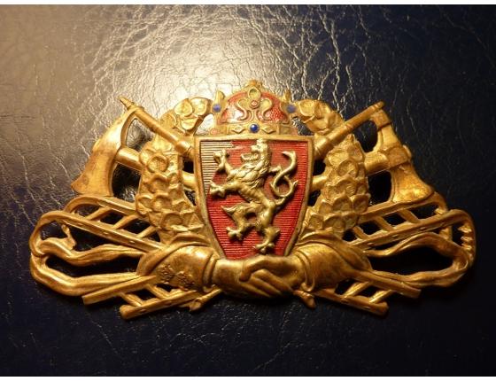 Československo – Hasičský čepicový odznak, 1. republika, smaltovaný, originál