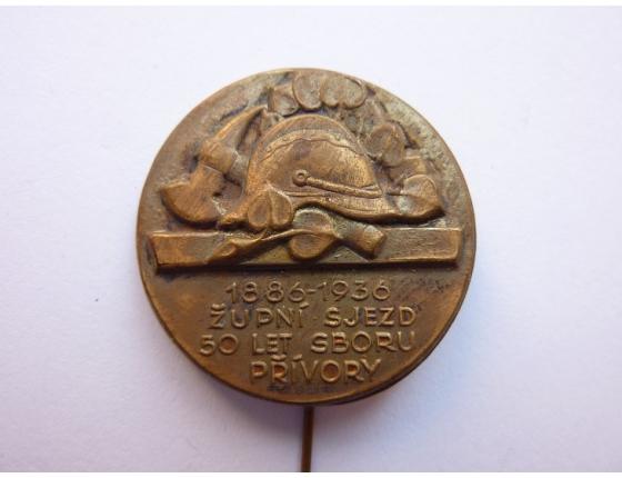 Československo - odznak Župní sjezd, 50 let hasičského sboru Přívory 1936