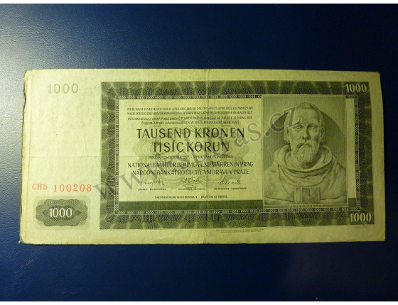 1000 korun 1942, II. vydání, série CHb