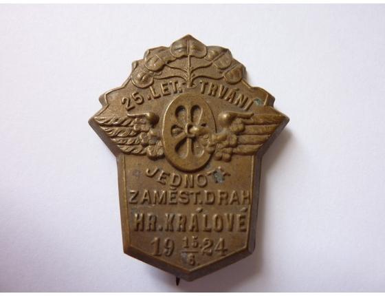 Československo - odznak 25 let Jednota dráhy Hradec Králové 1924
