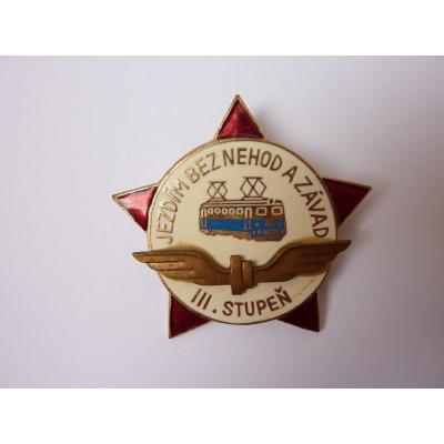 Československo - odznak Jezdím bez nehod a závad, III. stupeň