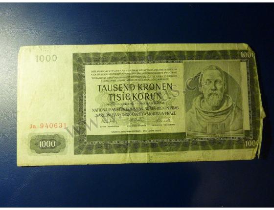 1000 korun 1942, II. vydání, série Ja