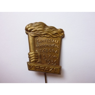 Czechoslovakia - Manifestation progressive camp in Prague in 1935 badge