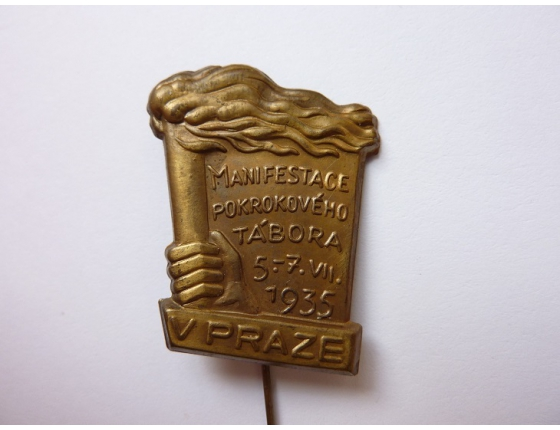 Československo - odznak Manifestace pokrokového tábora v Praze 1935
