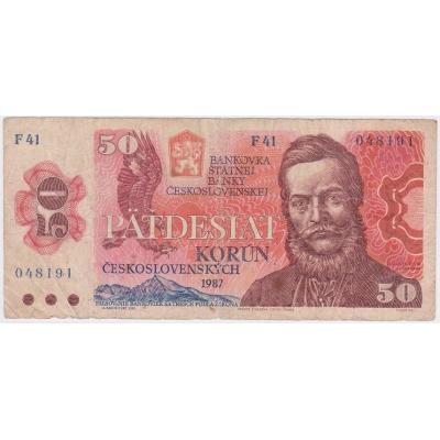 Tschechoslowakei - 50 Kronen-Banknote 1987 Serie F
