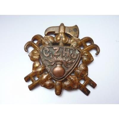 Tschechoslowakei - cap Abzeichen Tschechische Provinz Feuer Einheit