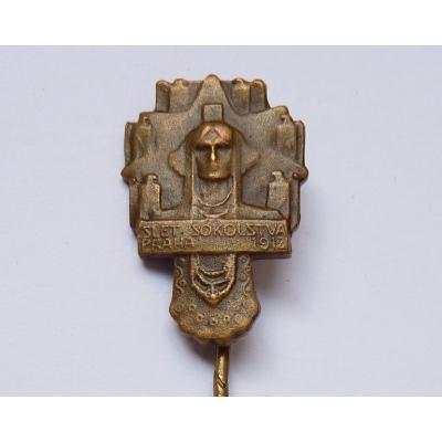 Rakousko Uhersko - odznak Slet sokolstva Praha 1912 miniatura