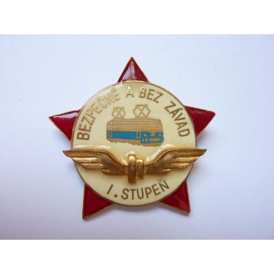 Československo - odznak Bezpečně a bez závat I. stupeň ZUKOV