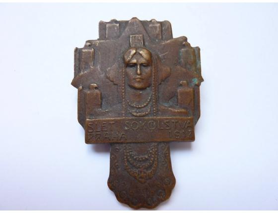 Rakousko Uhersko - odznak Slet sokolstva Praha 1912