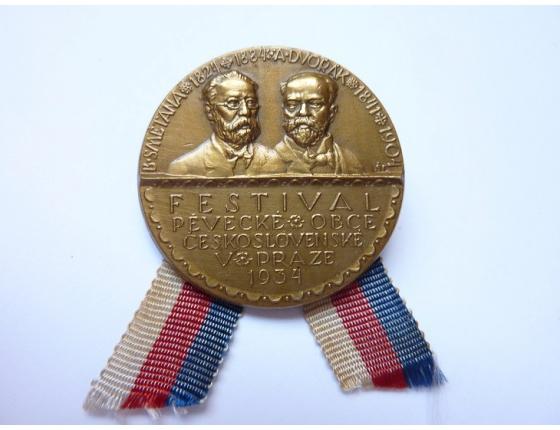 Československo - odznak Festival pěvecké obce československé v Praze 1934