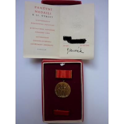 Československo - 30. výročí osvobození, medaile s věnováním