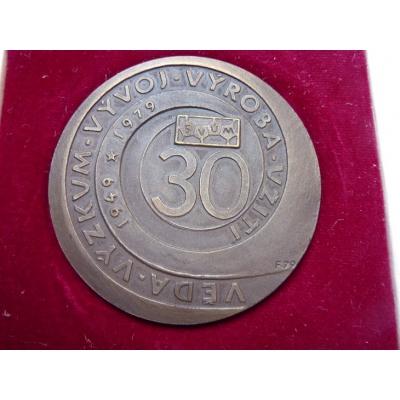Československo - 30. výročí Výzkumného ústavu materiálu, medaile s věnováním 1979