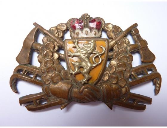 Československo - Hasičský čepicový odznak, 1. republika, smaltovaný, originál