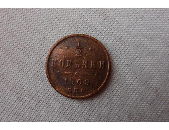 Rusko - mince 1/2 kopějky 1909 S.P.B
