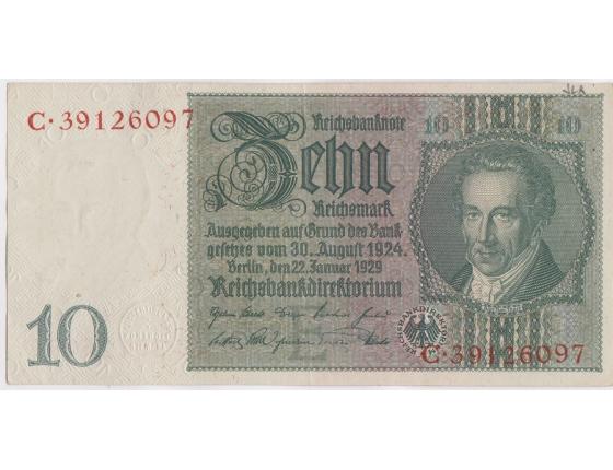Německo - bankovka 10 Marek 1929, série C