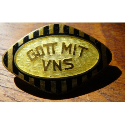 Austria-Hungary - enamel brooch, silvered from 1914 or 1915, Gott mit uns (God with us)