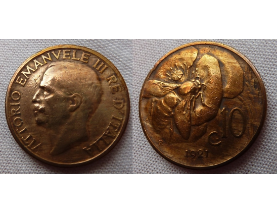 Itálie - 10 centesimi 1921 R