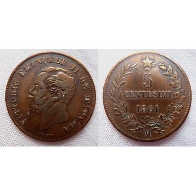 Itálie - 5 centesimi 1861 M