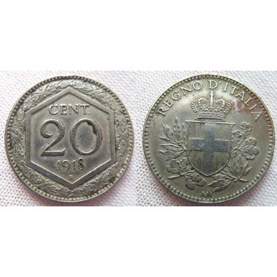 Italské království - 20 centesimi 1918 R