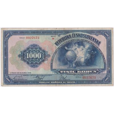 Czechoslovakia - 1000 Crown banknote 1932 seria A