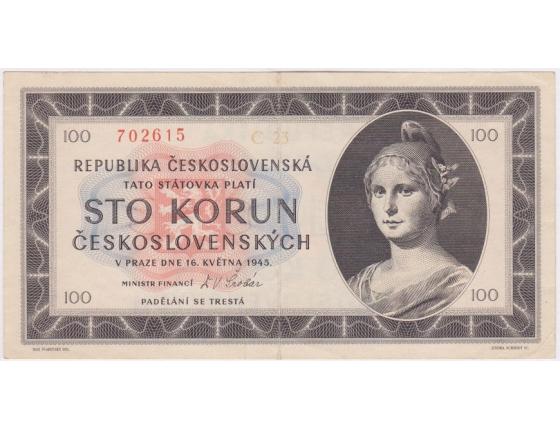 Československo - bankovka 100 korun 1945