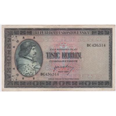 Československo - bankovka 1000 korun 1945