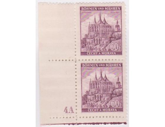 Čechy a Morava - Hrady a zámky, blok známek