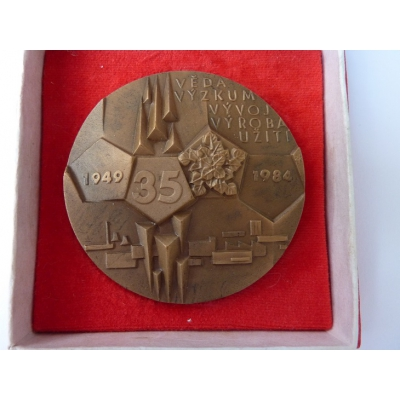 Czechoslovakia - 35th anniversary of the Research Institute of material, medal with dedication 1984