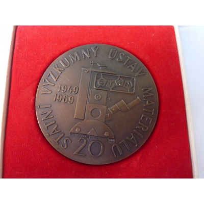 Czechoslovakia - 20th anniversary of the Research Institute of material, medal with dedication 1969
