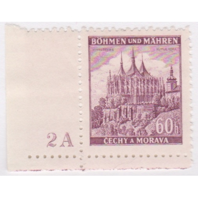 Čechy a Morava - 1939 Krajiny, hrady a města, známka s deskovým číslem
