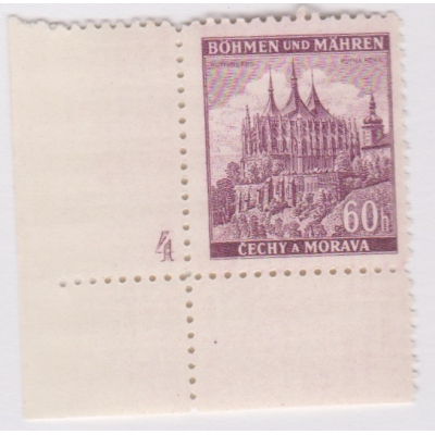Bohemia and Moravia - 1939 Landscapes, castles and cities stamp with plate number