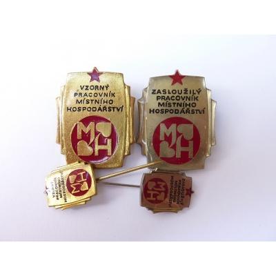 Československo - 4x Vzorný a Zasloužilý pracovník místního hospodářství