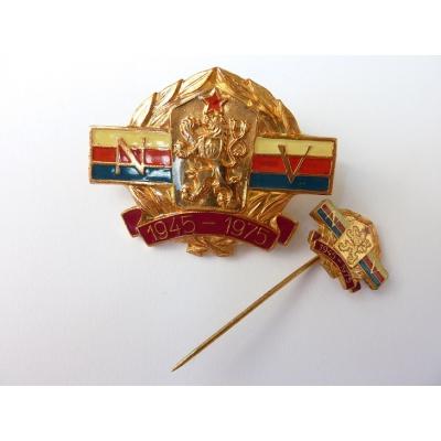 Československo - 2x odznak NV 1945-1975 Mincovna Kremnica
