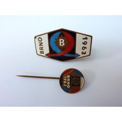Československo - 2x odznak Mezinárodní veletrh Brno 1963