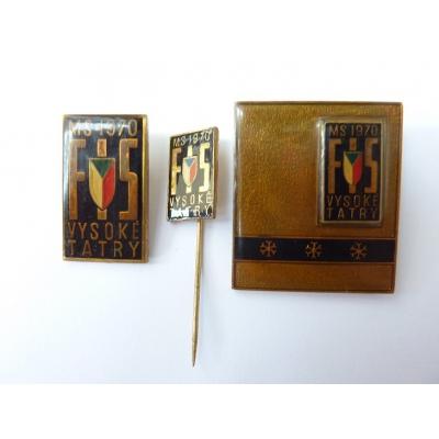 Czechoslovakia - 3x badge World Ski Championships 1970, the High Tatras, marked the Kremnica Mint