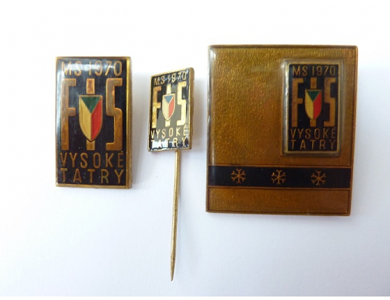 Československo - 3x odznak Mistrovství světa v lyžování 1970, Vysoké Tatry, značeno Mincovna Kremnica
