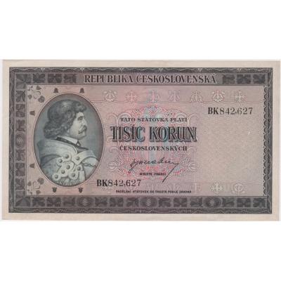 Československo - bankovka 1000 korun 1945 neperforovaná UNC