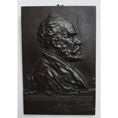 Bronzová pamětní deska Antonín Dvořák