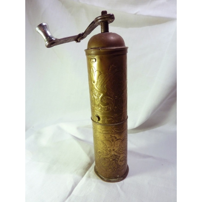 Historical brass coffee grinder