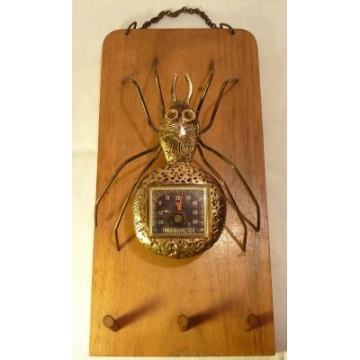 Závěsná retro-dekorace: Pavouk s teploměrem
