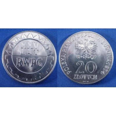 20 zlotych 1974 - 25 let RWPG (Rada vzájemné hospodářské pomoci)