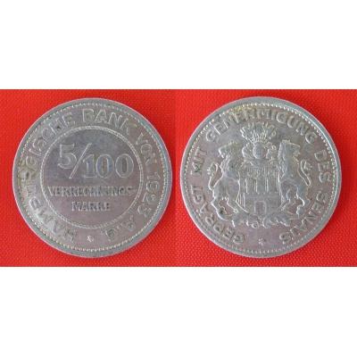 5/100 Verrechnungsmarke Hamburg 1923 A.G.