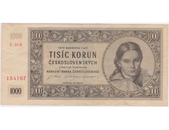 1000 Kčs 1945, série B, neperforovaná
