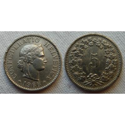 Švýcarsko - 5 centimes 1966