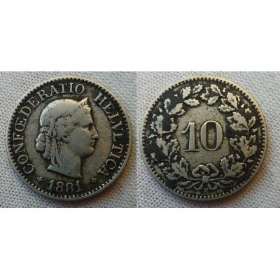 Švýcarsko - 10 rappen 1881