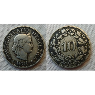Switzerland - 10 centimes 1881