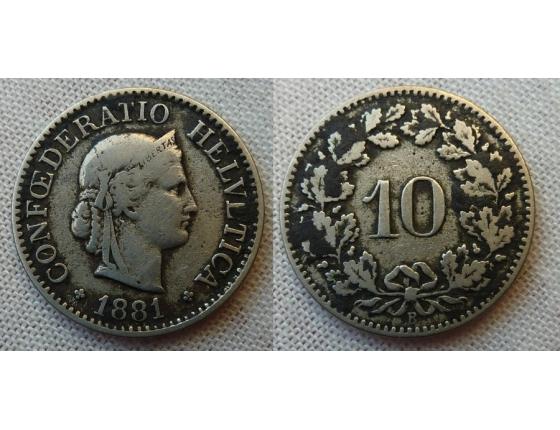 Switzerland - 10 centimes 1881