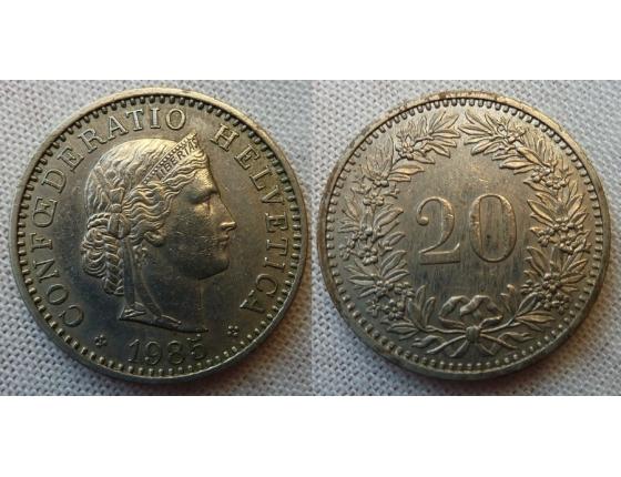 Switzerland - 20 centimes 1985